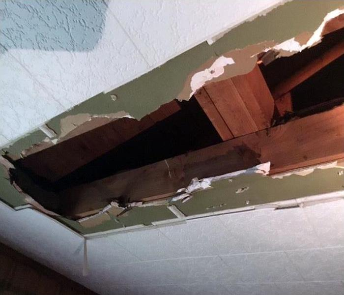 Water damage to downtown Dallas ceiling after leak