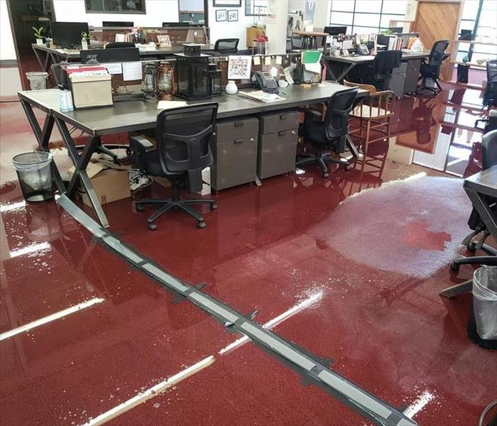 Office with water all over the floor